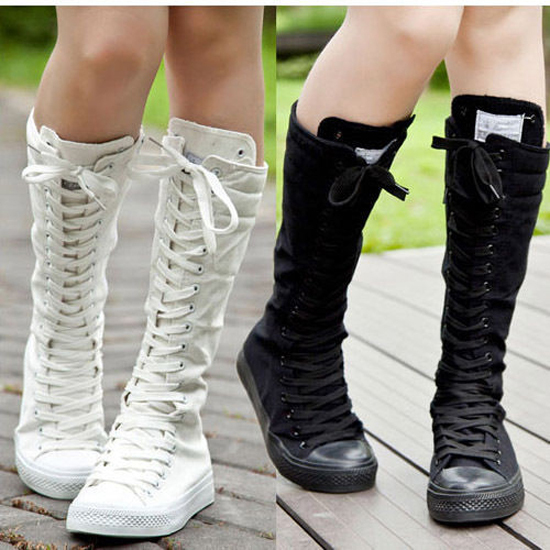 4d681e0fea4069 Tall Punk Botas Shoes Woman Boot Summer Lace Up Knee High Boots Women White Canvas  Sneakers Casual Sneaker Flat