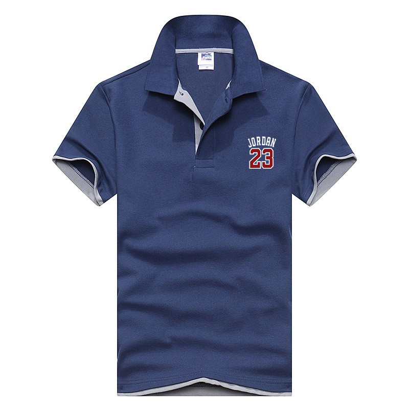 2018 New Jordan23 Men   Polo   Shirt high quality Fashion ClassicShort Sleeve Men   Polo   Male Cotton Shirt Top Tees size M-3XL