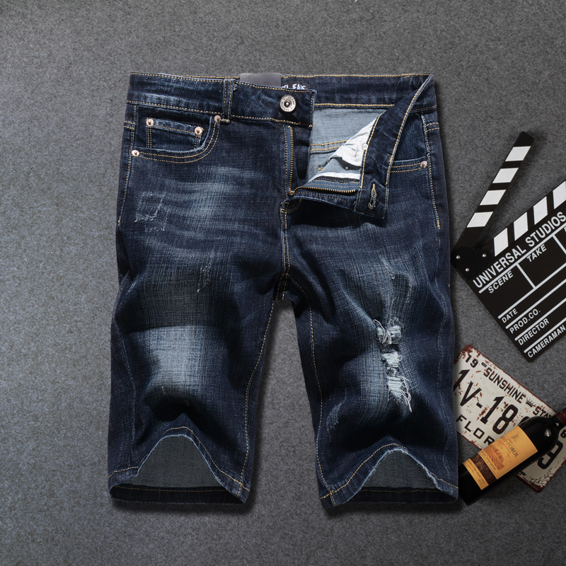 Summer Fashion Streetwear Men Short Jeans Black Blue Casual Shorts Masculina Elastic Ripped Jeans Men Hip Hop Denim Shorts Homme