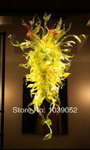 Free Shipping Yellow Contemporary Modern Art Deco Hand Blown Glass Chandelier