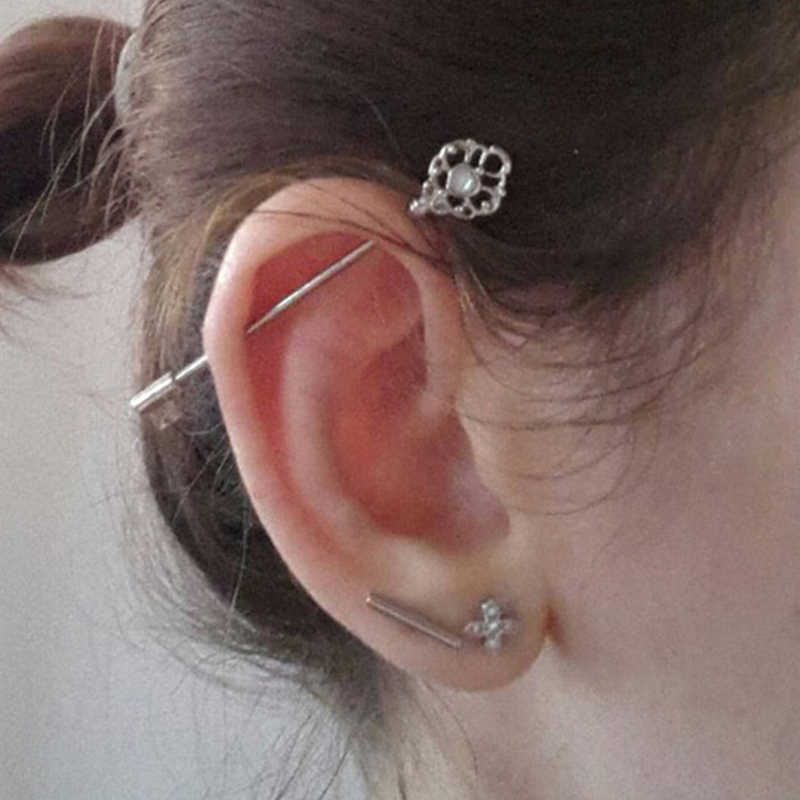 אופנה עגילי לנשים 316L כירורגי פלדה תעשייתי בר פיגום משקולת טבעת פירסינג תכשיטי מתנות ארוך מגוונים