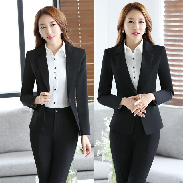 Nova Chegada Fino Moda 2016 Professionan Formal Feminino Pantsuits Com Conjuntos de Calças Mulheres Ternos Blazer + Calça Calças Das Senhoras