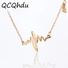 Simple Wave Heart Necklace Chic ECG Heartbeat Gold Color Pendant Charm Lightning Necklace Women Vintage Jewelry Accessories(China)