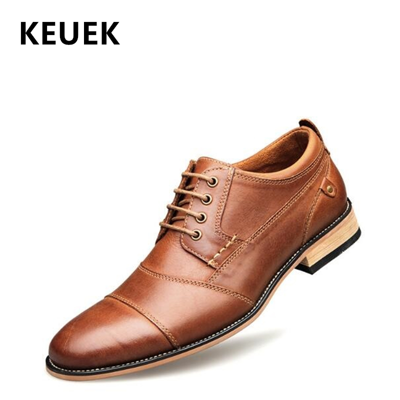 New Arrival Spring Men Flats Genuine leather Lace Up British style Oxford shoes Big size Vintage