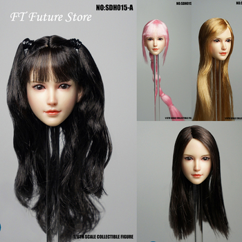 Collectible SDH015A/B/C/D 1/6 Female Head Sculpt Realistic Style Pale Skin Model for 12'' Phicen Action figure Body Accessories 1 6 beautiful girl blink female head sculpt toys phicen female body part for 12 action figure doll toys eyes movable only head