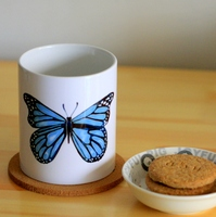 Blue Butterfly Ceramic Mug Coffee Cup Milk Mug With Handgrip 320ml Home Decoration 11oz