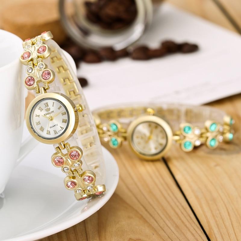 High Quality Fashion Crystal Brand Luxury Gold Women Quartz Bracelet Watch R157 Gemstone Dress Watches Wristwatches Reloj Mujer high quality gold bracelet watches women luxury brand leather strap quartz watch for women dress wristwatches female clock ac183
