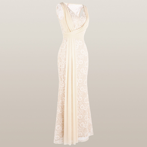 Image 4 - Angel fashions Womens V Neck Lace Evening Dress Pleated Ribbon Mermaid Party Gown Apricot 428 418