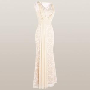 Image 4 - מלאך אופנת נשים של V צוואר תחרה שמלת ערב קפלים רצועת כלים בת ים המפלגה שמלת משמש 428 418