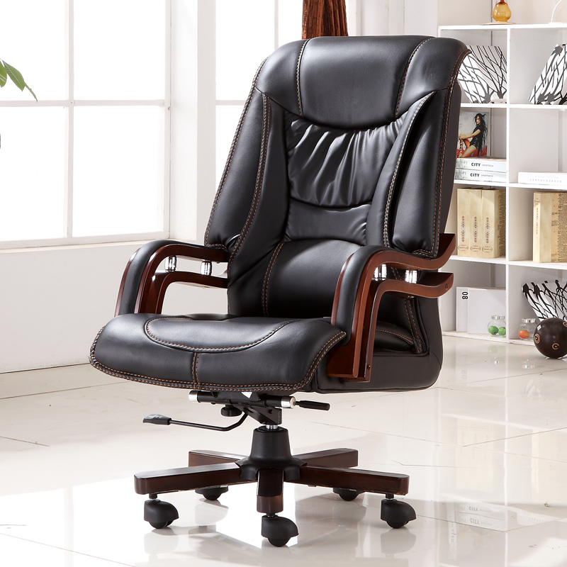 executive bonded leather office chair swivel legs wood modern luxury home office furniture boss ergonomic office - Gray Leather Office Chair