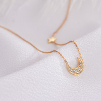 Fashion sterling silver s925 star and moon 18K gold personalized mom necklace for New Year Gift