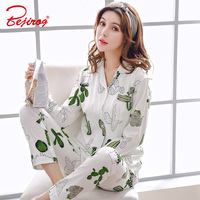 Bejirog sweet pajama set for women cacti print sleep clothes+pant pyjama long sleeve sleepwear in autumn cotton 2 piece homewear