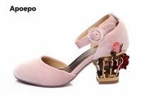 Продажи дизайн Сабо обувь Роза каблуки с узором свадебные туфли с круглым носком Обувь на среднем каблуке Красный Розовый Синий Туфли лодоч