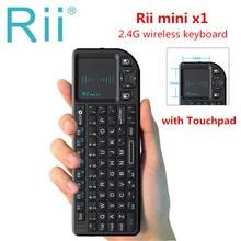 Rii teclado inalámbrico mini X1 Original, 2,4G, Air Fly Mouse, Touchpad portátil para TV inteligente, Android, tv box, PC, portátil, HTPC
