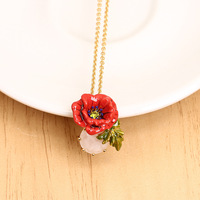 French Dyxytwe Enamel Necklace Romantic Long Chain Jewelry For Women Valentine's Day present Free Shipping