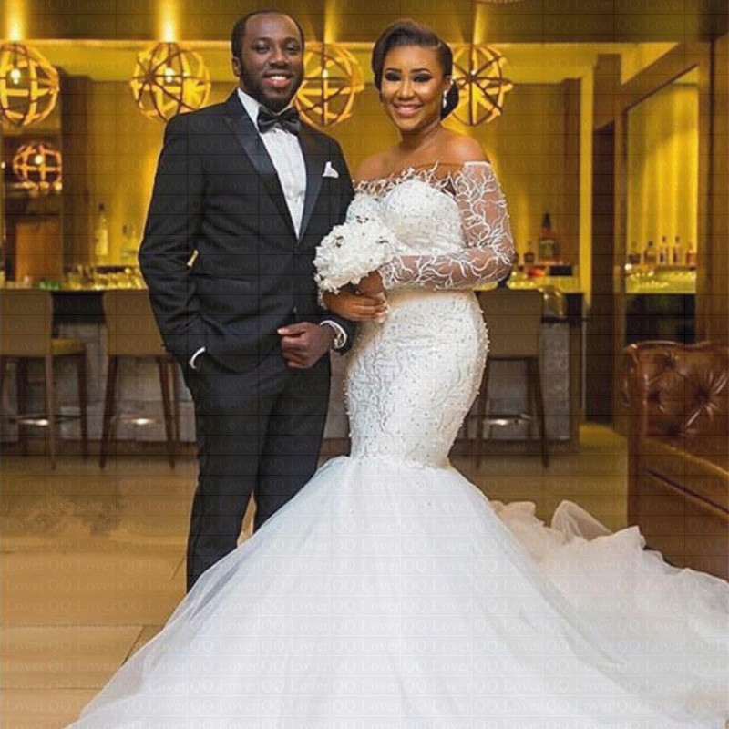 2019 African Luxury Lace Off The Shoulder Mermaid Wedding