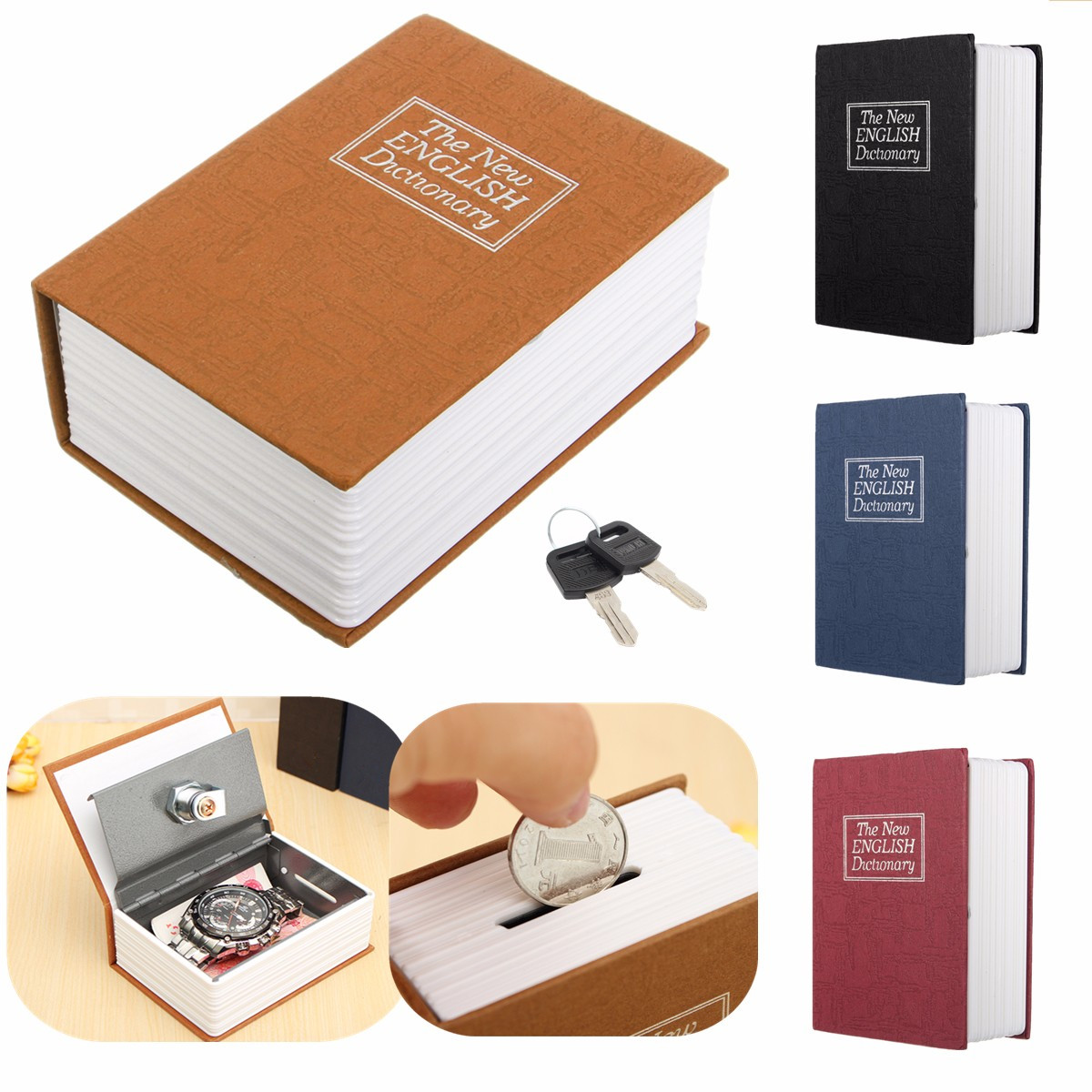 4 Color Home Storage Safe Box Dictionary Book Bank Money Cash Jewellery Hidden Secret Security Locker With Key Lock