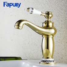 Fapully Gold Bathroom Sink Faucet Deck Mounted Single Handle Basin Faucet Gold Cold and Hot Mixer Taps 703-11G fapully basin faucet deck mounted cold and hot oil rubbed bronze water taps mixer single handle black bathroom sink faucet
