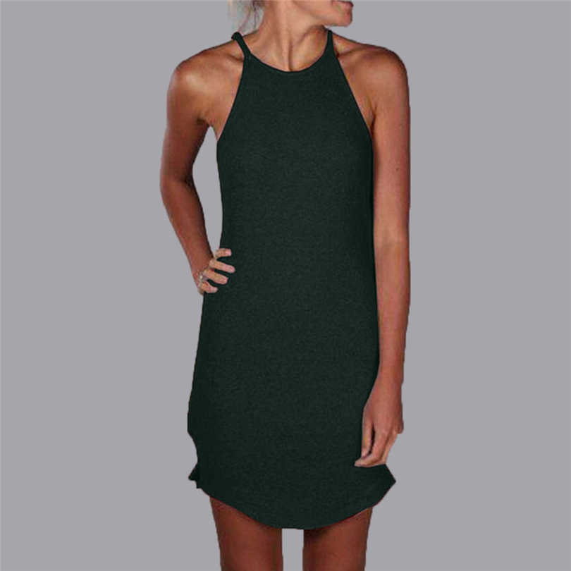 MIARHB Summer Dress Women Crew Neck Asymmetric Hem Plain Sleeveless Casual Dresses Female Sexy Sling Dress 2019 New A20