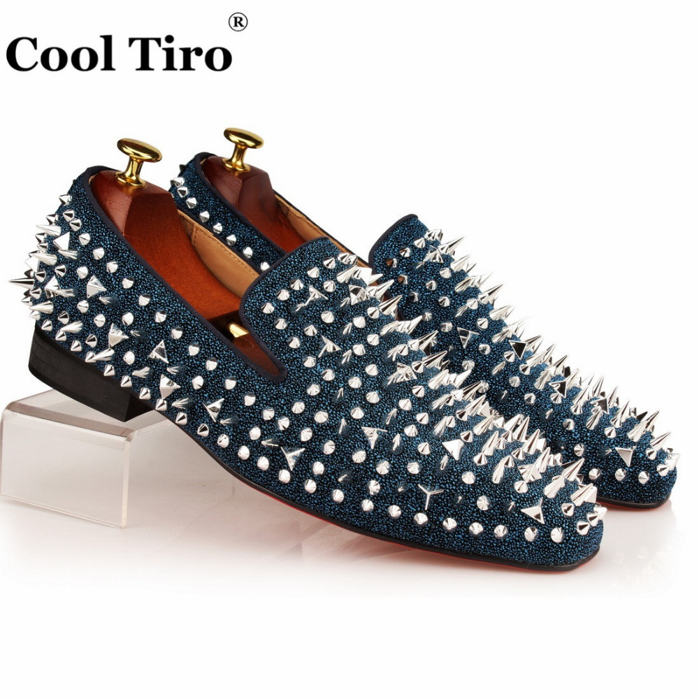 COOL TIRO Blue Glitter Men Loafers Spikes Rhinestones Slide Slippers  Smoking Casual Shoes Party Dress Men s Flats Genuine Leathe 32784a0c4008