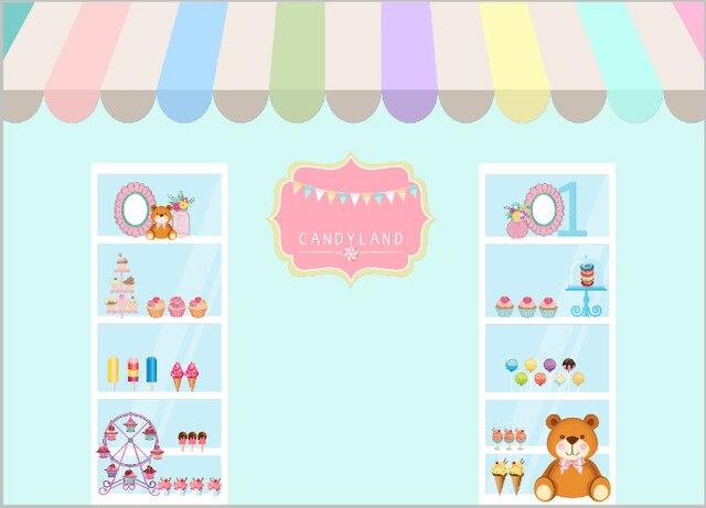 7x5FT Candy Shop Ice Cream Cake Cabinet Kids Children Custom Photo Studio Backdrop Background Banner Vinyl