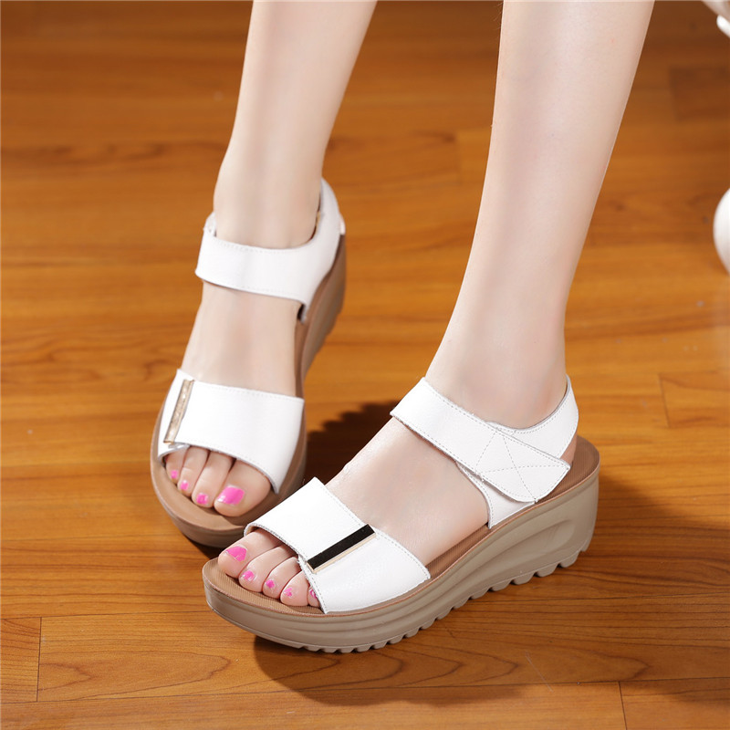 2017 New Summer Women Sandals Genuine Leather Shoes Woman Nurses Shoes Anti-skid Mother Shoes Soft Comfortable Wedges Sandals