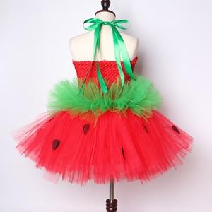 Image 4 - Cute Strawberry Tutu Dress Red Green Tulle Flowers Princess Girls Birthday Party Dress Children Kids Christmas Halloween Costume