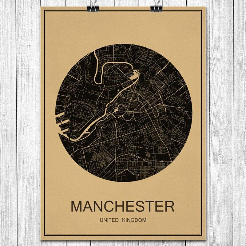 MANCHESTER Kraft Paper World City Map Vintage Retro Poster Wall Art ...
