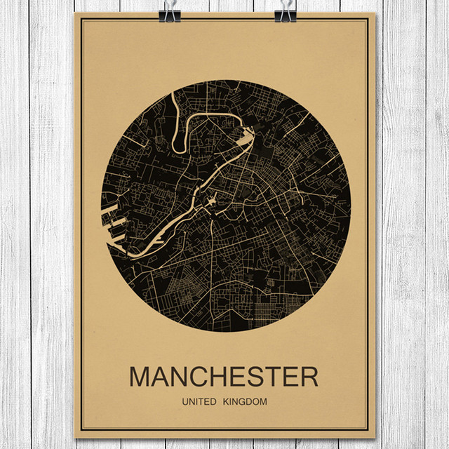 Vintage Retro Poster MANCHESTER Kraft Paper World City Map Wall ...
