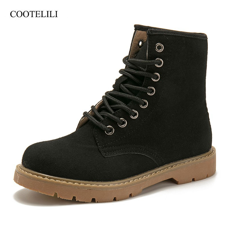 COOTELILI Winter Shoes For Women Cool Lace Up Ankle Shoes For Women Fashion Comfortable Lady Rubber