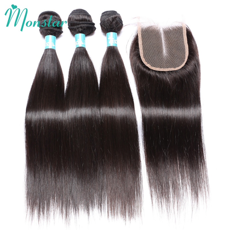 Monstar Peruvian Virgin Straight Hair Bundles with Closure 8 - 30 Inch Cheap Unprocessed Peruvian Weaves Human Hair with Closure