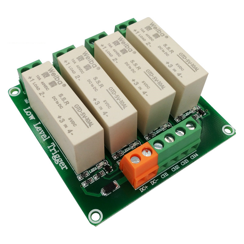 4 channel low-level trigger solid-state relay module 10A high current control DC solid state relay FOR PLC automation equipment relay shield v1 0 5v 4 channel relay module for arduino works with official arduino boards