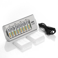 8pcs/lot EBL 2300mAh Rechargeable Batteries + 8 Bay Battery Charger For AA AAA NiMH Battery free shipping