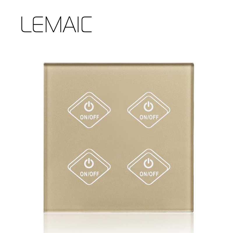 LEMAIC Remote Control Switch 4 Gang 1 Way Smart Wall Touch Switch+LED Indicator Crystal Glass Switch Panel 170-240V Wall Switch newest 1 way 1 gang crystal glass panel smart touch light wall switch remote controller gold ac110v 240v low price