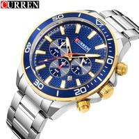 Curren Mens Watches Top Brand 2019 New Luxury Gold Black Men Quartz Watch Stainless Steel Waterproof Clock Relogio Masculino