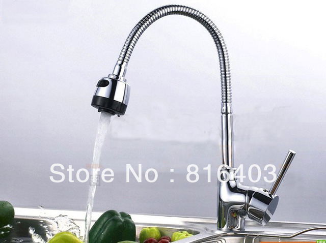 Luxury 360 Degree Turn Sprayer Kitchen Faucet Flexible spring Mixer tap 2 Function Deck Mounted Free Shipping