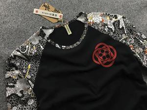 Image 3 - Mens Hip hop motorcycle T Shirts Tattoo Dimensional Printing Cotton Long Sleeved T Shirt Mens Slim Cherry Carp Pattern Tops Tee