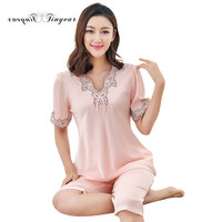 Tinyear New Summer Sexy Floral V Neck Night Wear Women Short Sleeve Pink Color M XXL