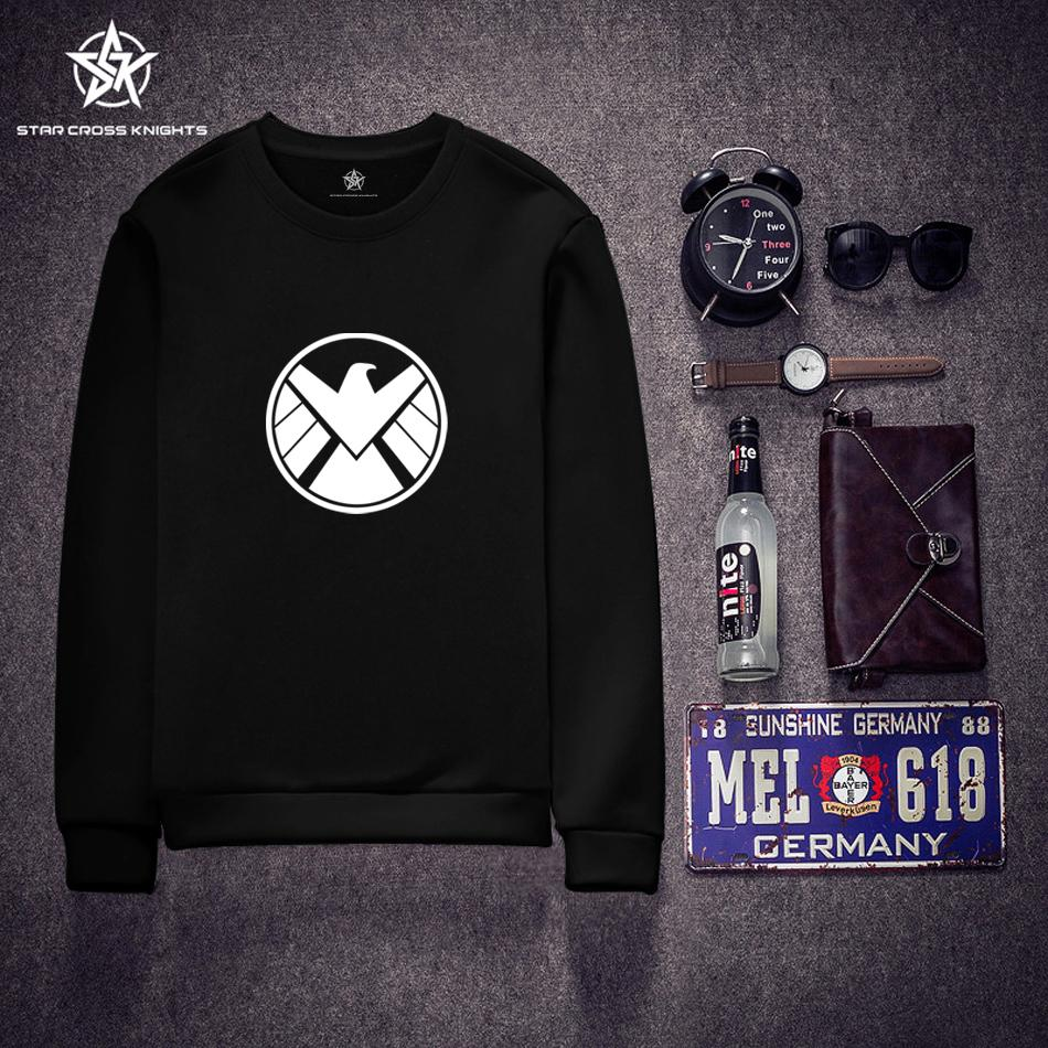Agents of S.H.I.E.L.D. Men Hoodies Black Long Sleeve O-neck Autumn New Casual Men Brand Clothing Boy Men Sweatshirts Sportswear