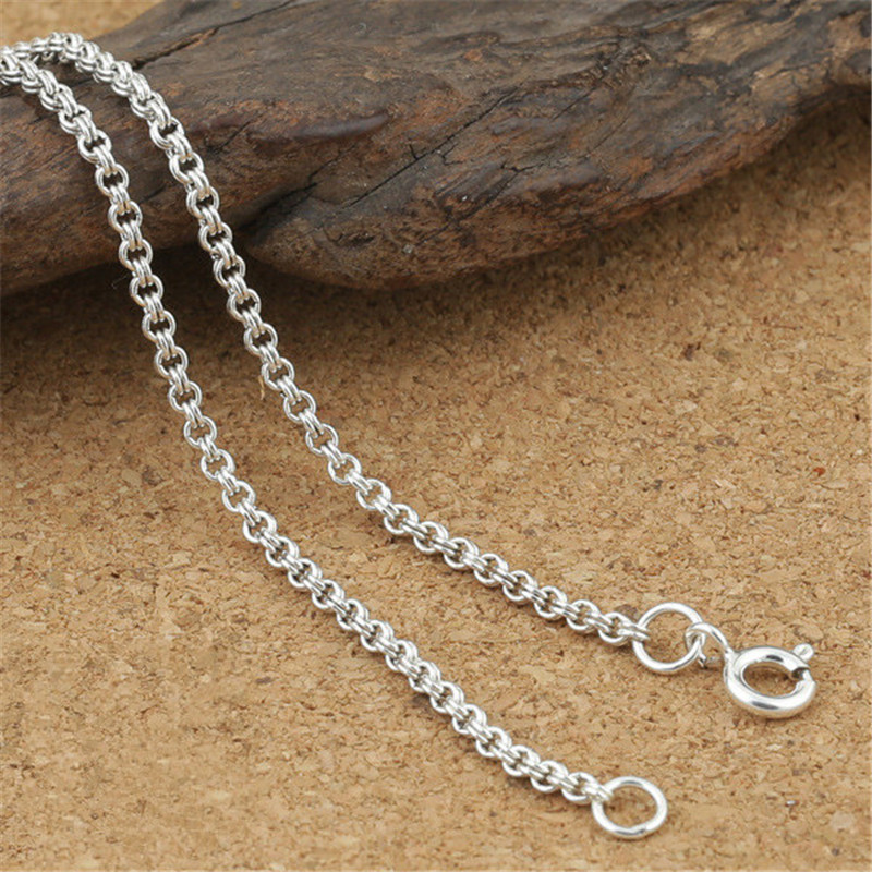 925 Sterling Silver Double Loop Rolo Belcher Chain Necklace 2mm 18 20 22 24 Inches image