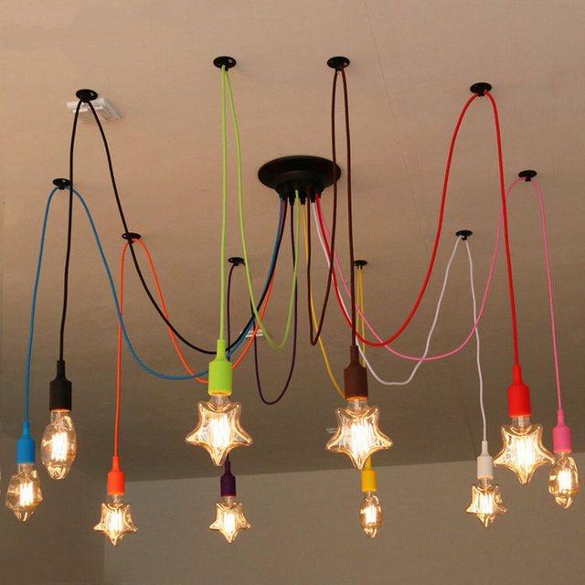 Lustre lustres araignée led éclairage coloré pour salle à manger chambre bricolage coloré lampe lumières rétro