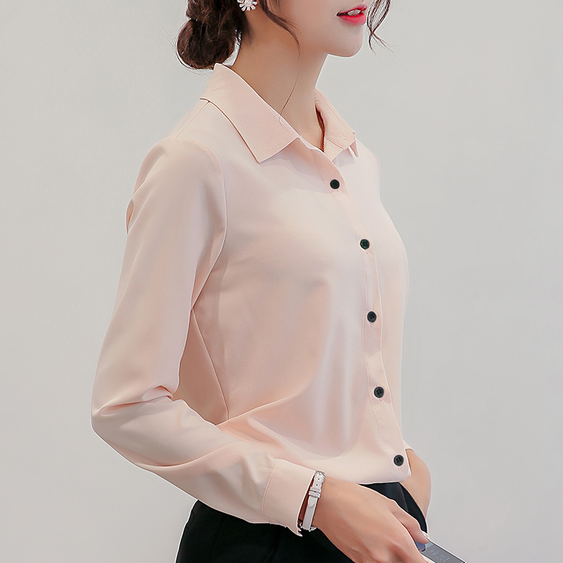 BIBOYAMALL White Blouse Women Chiffon Office Career Shirts Tops Fashion Casual Long Sleeve Blouses Femme Blusa