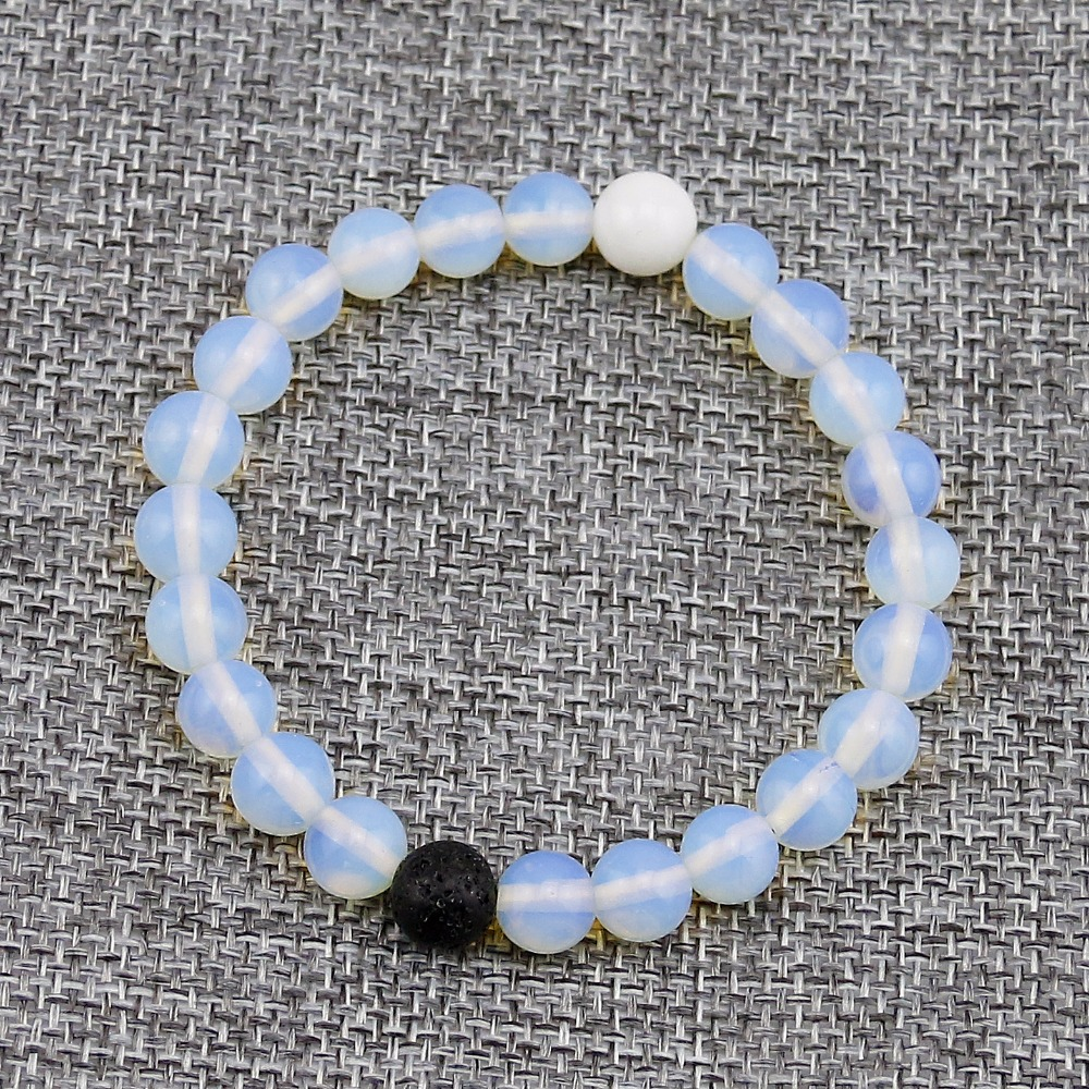 Matte White Crystal Elastic 8mm Natural Stone Bracelet