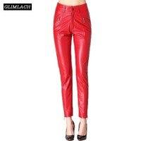 Elegant Luxury Women Real Leather Trousers Lady Streetwear Genuine Leather Slim Pencil Pants Red Black High Waist Fashion Pants