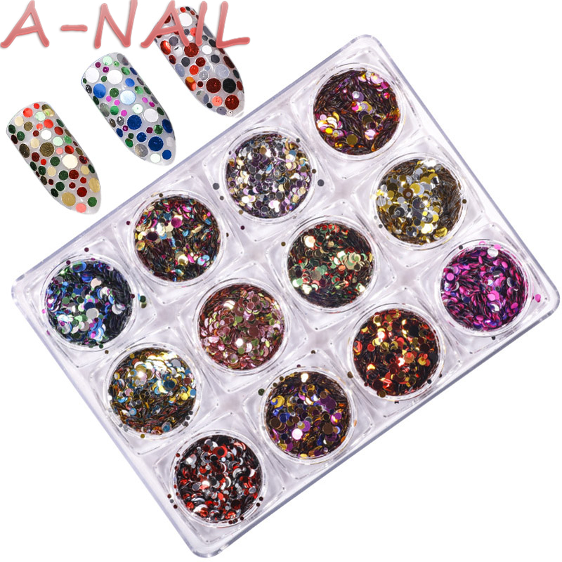 12jars/set  Nail Art Glitter ROUND Shapes Confetti Sequins Acrylic Tips UV Gel B Style 1mm 2mm 3mm Manicure 3D Nail Decoration monja 48 jar mix style nail art rhinestones beads glitter powder sequins flakes stickers 3d design decoration