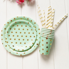 Mint Green Foil Gold Party Supplies Disposable Tableware Sets Paper Plate Cups Straws For Baby Shower Baptism Wedding Decor