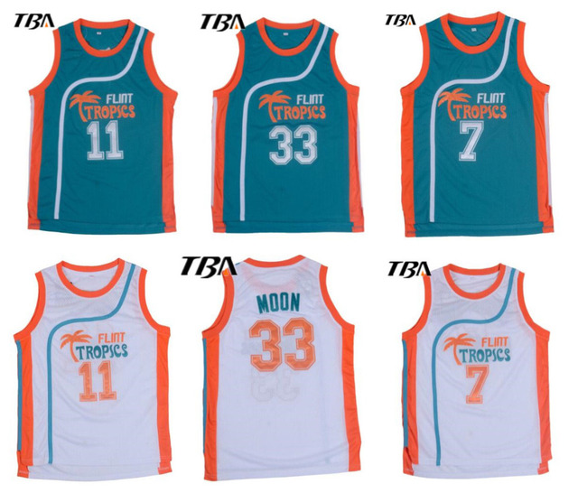 NEW Retro Basketball Jersey Movie Semi Pro Flint Tropics Jackie Moon 33   Coffee Black 7  Ed Monix 11  Throwback Jerseys Stitched a76d7739d