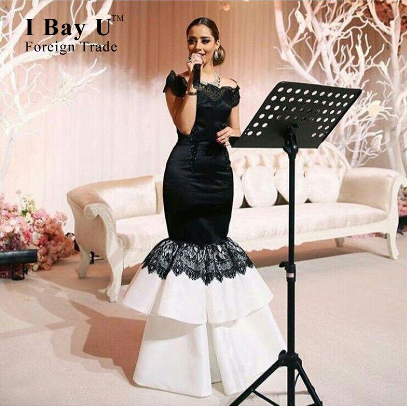 8c85ab519759 I Bay U Off Shoulder Puffy Mermaid Gowns Satin Drill Lace Bottom White  Black Evening Dresses Black Lace Mermaid Prom Dress