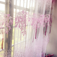 Fashion style Stamp Custom made and finished curtain custom window tulle curtain for living room bedroom