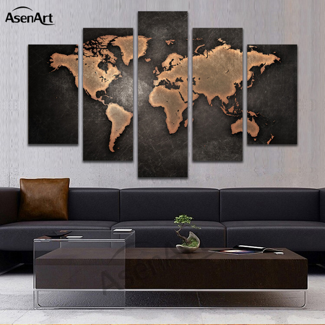 Aliexpress Com Buy Unframed 3 Panel Vintage World Map: Aliexpress.com : Buy 5 Panel Vintage World Map Canvas